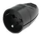 Síťová zásuvka na kabel kulatá 16A/250V 2p+Z černá