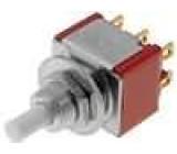 Tlačítkový spínač do plošného spoje 2x přep. ON-(ON) 1A
