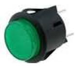 Tlačítkový spínač kulatý 2x spín. OFF-ON zel. podsvětlený