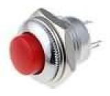 Přepínač tlačítkový bez aretace kontakty SPDT červený