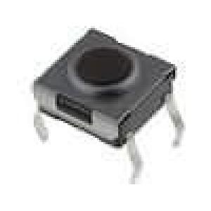 Mikrospínač 1-polohové SPST-NO 0,05A/12VDC THT 1,6N 6x6mm