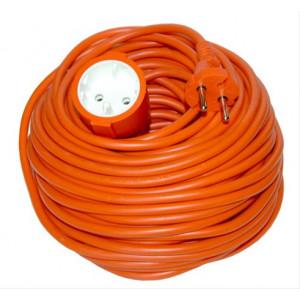 Prodlužovací kabel - spojka, 1 zásuvka, oranžová, plochá, 20m
