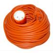 Prodlužovací kabel - spojka, 1 zásuvka, oranžová, plochá, 30m