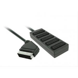SCART rozbočovač, SCART konektor - 5 x SCART zdířka, 0,5m, blistr
