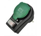 Zásuvka průběžná IP44, 16A, černá, vypínač, kryt zásuvky
