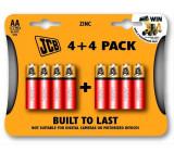 JCB zinko-chloridová baterie R06, blistr 8 ks