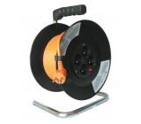 prodlužovací přívod na bubnu, 4 zásuvky, oranžový kabel, 15m