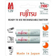 Fujitsu přednabitá baterie White R06/AA, 2100 nabíjecích cyklů, blistr 2s