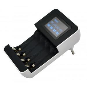 nabíječka s LCD displejem, AC 230V, 450mA, 4 kanály, AA/AAA, řízená mikroprocesorem