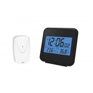 bezdrátový teploměr,vnitřní/venovní teplota, čas, budík, černý