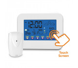meteostanice, velký dotykový barevný LCD, vnitřní/venkovní teplota, vlhkost, RCC, bílá