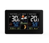meteostanice, extra velký barevný LCD, teplota, vlhkost, tlak, RCC, USb nabíjení, černá