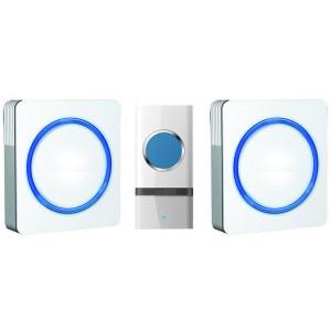 2x bezdrátový zvonek, do zásuvky, 120m, bílý