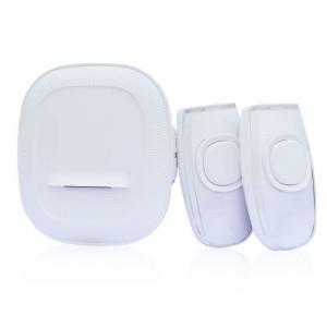 bezdrátový zvonek, 2 tlačítka, do zásuvky, 200m, bílý, learning code