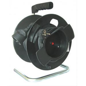 Prodlužovací přívod na bubnu, černý kabel, černý buben, 35m