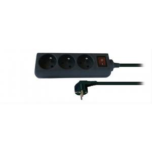 Prodlužovací přívod, 3 zásuvky, černý, vypínač, 3m