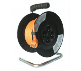 Prodlužovací přívod na bubnu, 4 zásuvky, oranžový kabel, černý buben, 20m