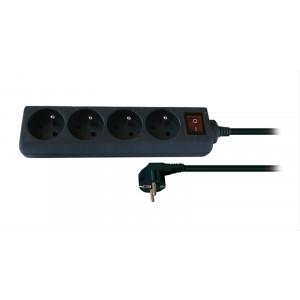Prodlužovací přívod, 4 zásuvky, černý, vypínač, 3m