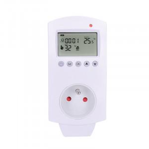 termostaticky spínaná zásuvka, zásuvkový termostat, 230V/16A, režim vytápění nebo chlazení, různé teplotní režimy