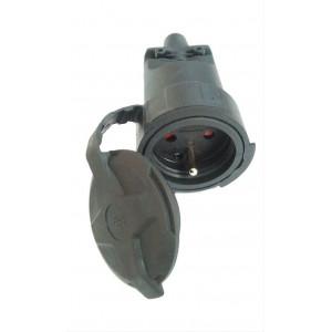 Zásuvka gumová, do vlhka a prachu, přímá, IP65, černá