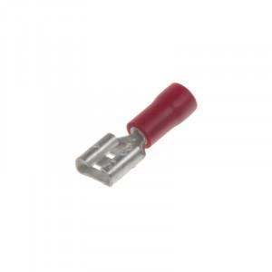 Objímka plochá 6,3 mm červená, 100 ks