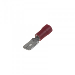 Zástrčka plochá 6,3 mm červená, 100 ks
