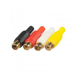 Cinch konektory samice, sada 4ks kombinace zlacený/plast