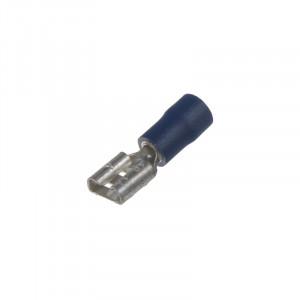 Objímka plochá 6,3 mm modrá, 100 ks
