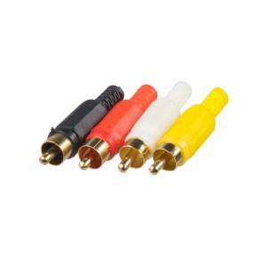 Cinch konektory samec, sada 4 ks kombinace zlacený/plast