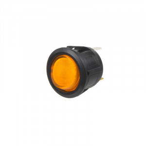 Spínač kolébkový kulatý 20A oranžový s podsvícením