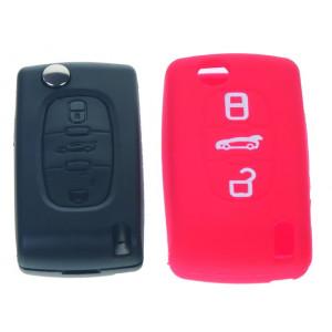 Silikonový obal pro klíč Peugeot, Citroën, 3-tlačítkový, červený