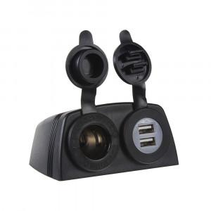 dvojitá zásuvka s panelem 1x CL + 2x nabíječka USB voděodolná