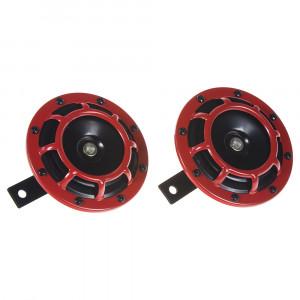 Diskový klakson (vysoký a nízký tón), červený, 120mm, 12V