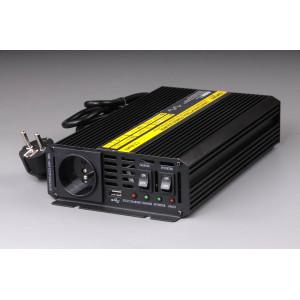měnič+dobíječka z 12V DC na 230V AC 600W trvale