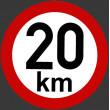 samolepka rychlosti 20 km průměr 19 cm