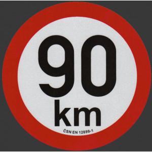 samolepka rychlosti REFLEXNÍ 90 km průměr 20 cm