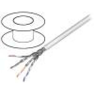 Kabel S/FTP 6 licna CCA 4x2x27AWG PVC šedá