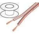 Kabel reproduktorový 2x1,5mm2 licna CCA průhledná 100m