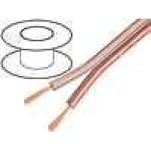 Kabel reproduktorový 2x0,5mm2 licna OFC průhledná 100m