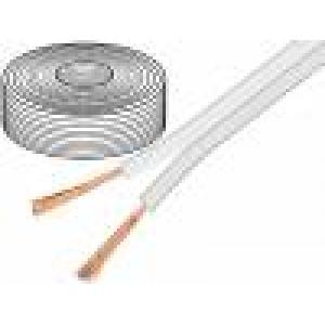 Kabel reproduktorový 2x1,5mm2 licna OFC bílá 10m