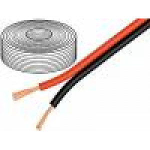 Kabel reproduktorový 2x2,5mm2 licna OFC černo-červená 10m