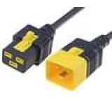 Kabel IEC C19 zásuvka, IEC C20 vidlice 2m se zajištěním černá