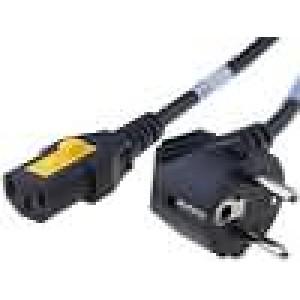 Kabel CEE 7/7 (E/F) úhlová vidlice, IEC C13 zásuvka 3m černá