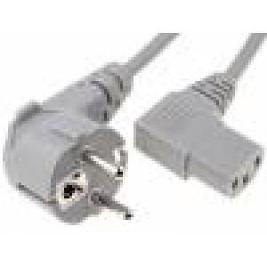 Kabel CEE 7/7 (E/F) úhlová vidlice, IEC C13 zásuvka 90° 1,8m