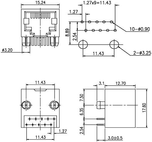 konektor rj50 z u00e1suvka 10 pin v u00fdvody 10p10c tht