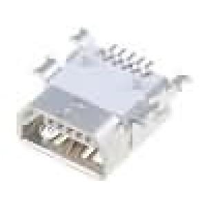 Zásuvka USB AB mini na PCB SMT PIN:5 vodorovné zlacený 0,8mm