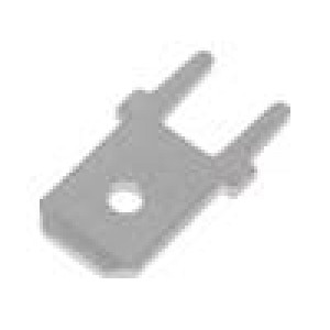 Konektor plochý 6,3mm 0,8mm kolík THT mosaz Celk.dél:14mm