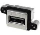 Zásuvka USB A do panelu, šroubovací THT úhlové 90° IP67 M3