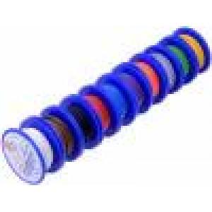 Kabel TLY licna Cu 0,22mm2 PVC 150V 10 cívek x 5m