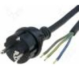 Kabel CEE 7/7 (E/F) vidlice, vodiče Dél.kabelu:3m černá guma